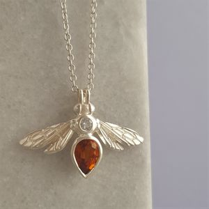 Sterling Silver Citrine Bee Pendant