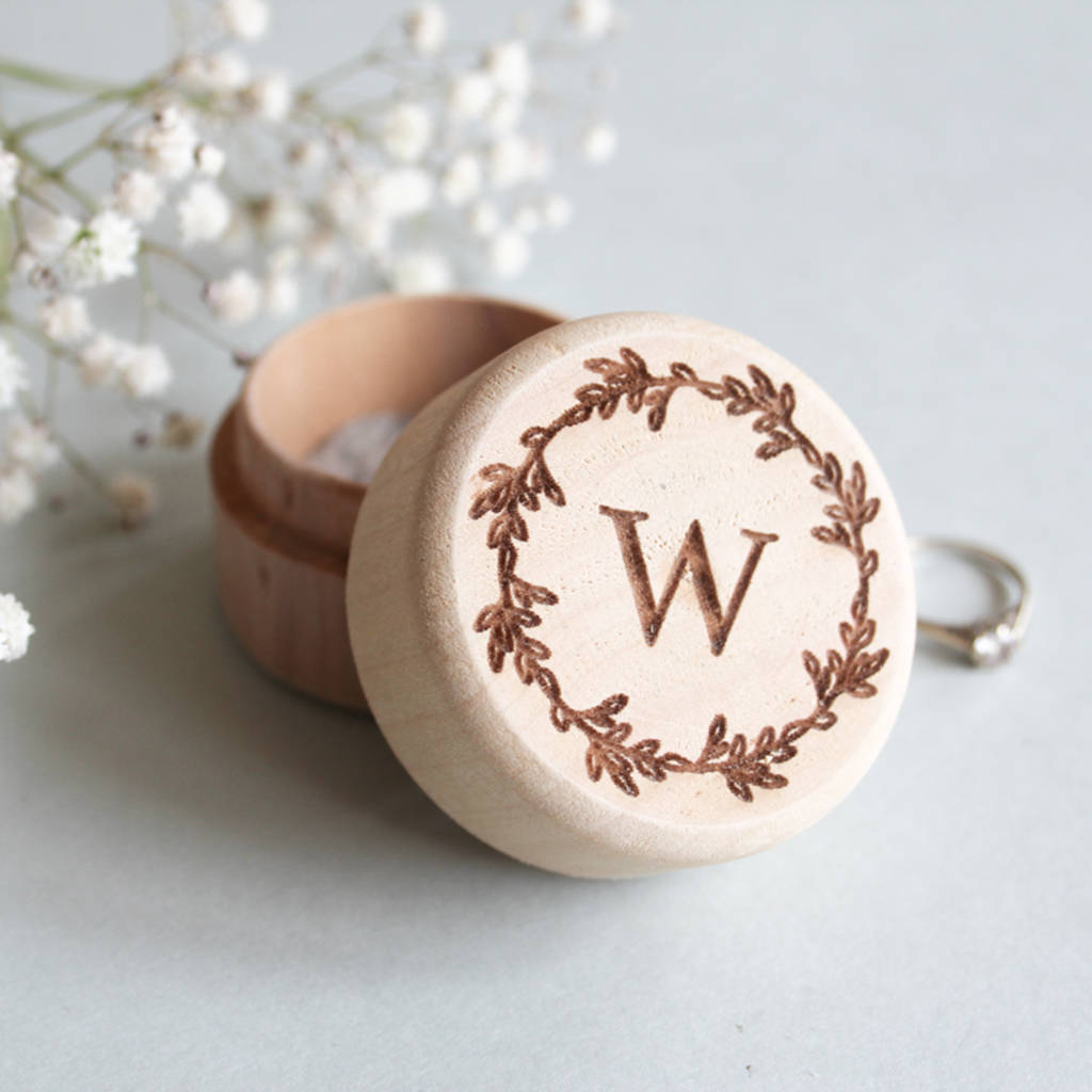 Personalised Wooden Monogram Ring Box