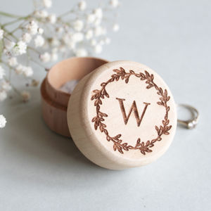 Personalised Wooden Monogram Ring Box - keepsakes