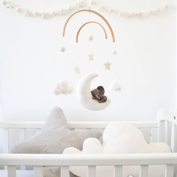 Sleeping Elephant With Stars And Clouds Baby Mobile