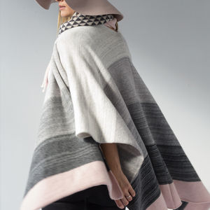 Ombre Knitted Lambswool Blanket Poncho - scarves