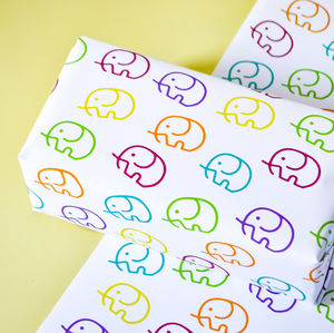 Childrens Elephant Wrapping Paper Set