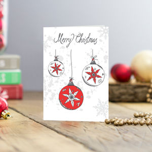 Christmas Baubles Greetings Cards Pack Of Five