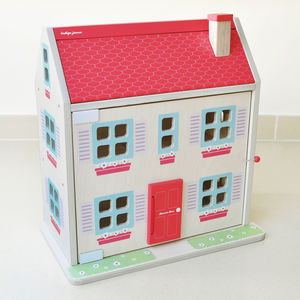 Wooden Dolls House Complete With Family And Furniture - dolls' houses