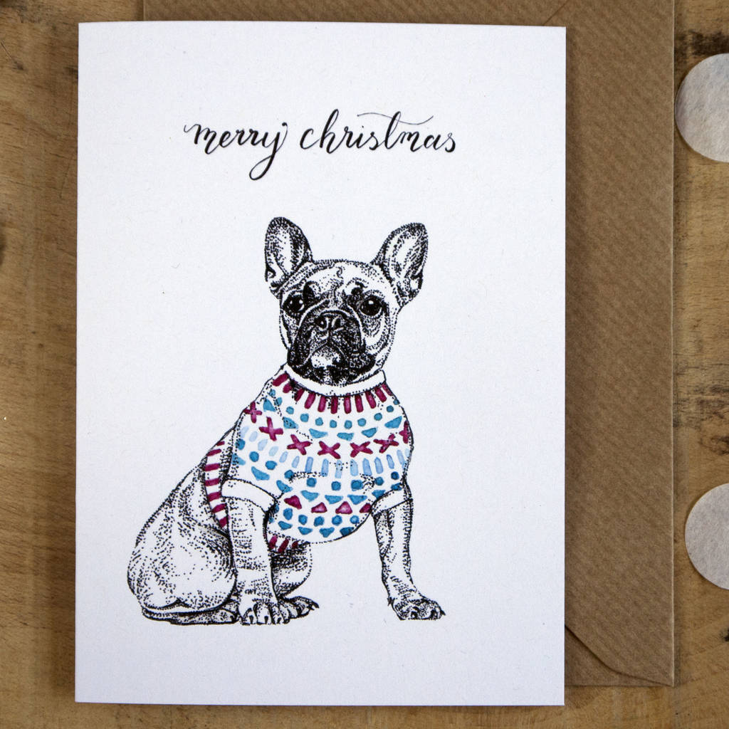 french bulldog in a jumper christmas card by amelia illustration ...