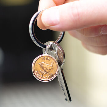 70th Birthday 1950 Farthing Coin Keyring