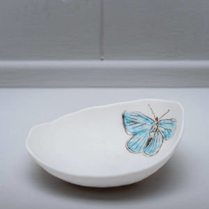 Butterfly Illustrated Porcelain Storage Bowl