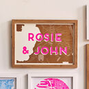 Personalised Risograph Couples Map Print