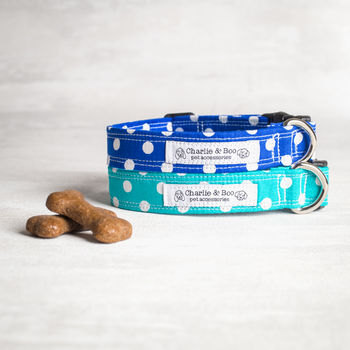 Polka Dot Dog Collar In Blue Or Turquoise
