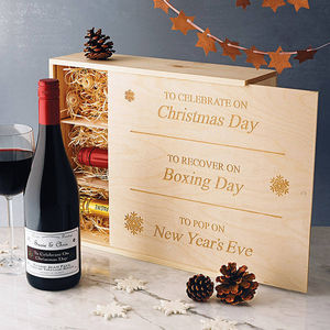 Christmas Engraved Wine Box - gift boxes