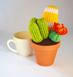 Crocheted Amigurumi Cactus Trio - flowers, plants & vases