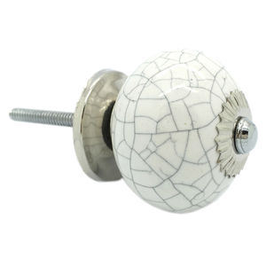 White Round Crackle Cupboard Door Knob Drawer Handle - door knobs & handles