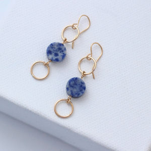 Blue Sodalite Circle Earrings - semi precious stones