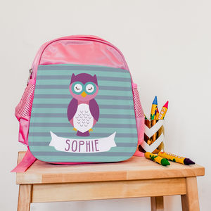Children's Personalised Wise Owlet Mini Rucksack - more