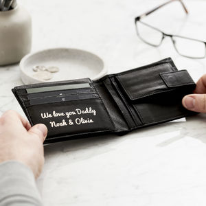 Personalised Message Leather Popper Wallet - mens