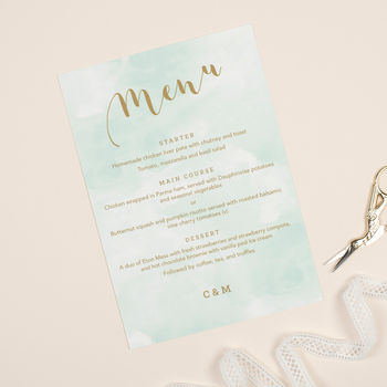 Mint Romance Wedding Menu Cards