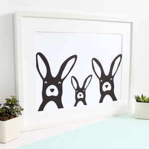 Rabbit Family Selfie, Personalised A3 Print - art
