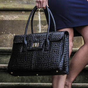 Personalised Luxury Leather Laptop Bag 'Fabia Croco'