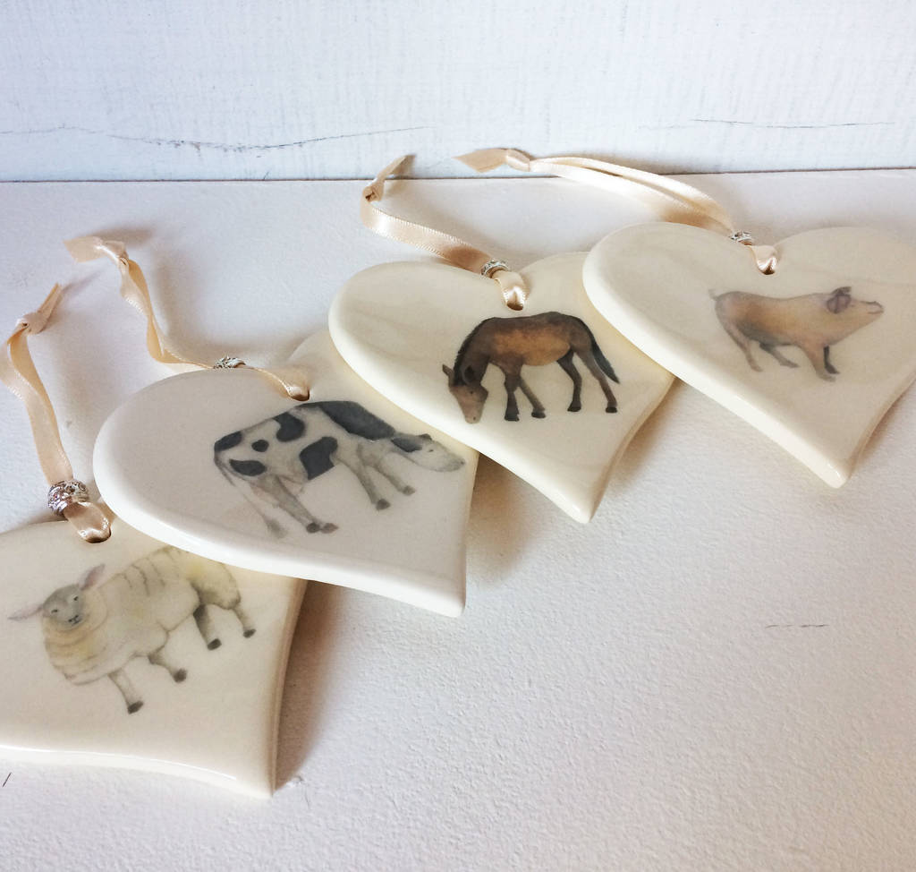 Farmyard Animal Ceramic Heart