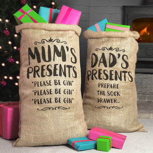 Mum And Dad Christmas Sacks - stockings & sacks