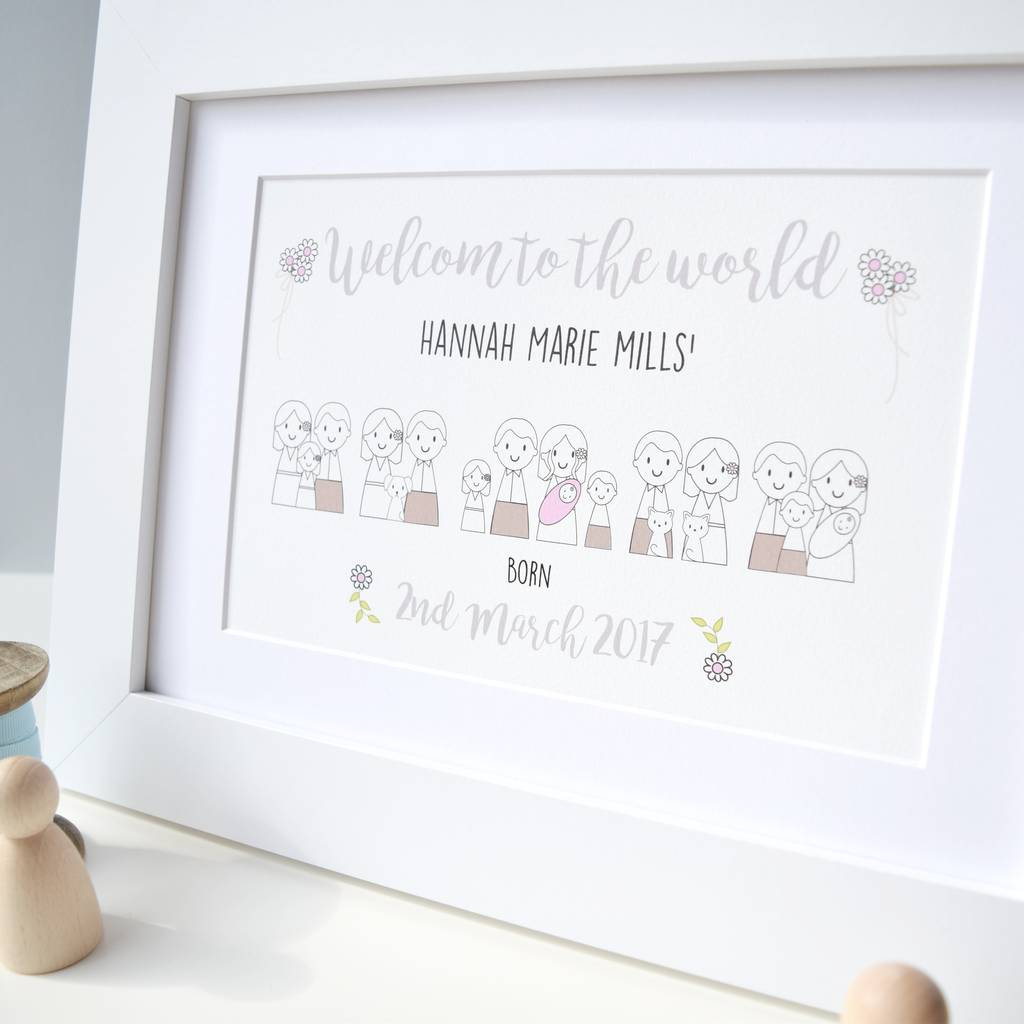 Personalised New Baby Girl Picture