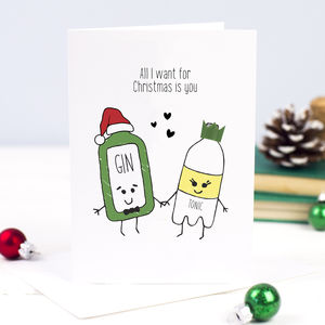 'All I Want For Christmas' Gin Christmas Card - cards & wrap