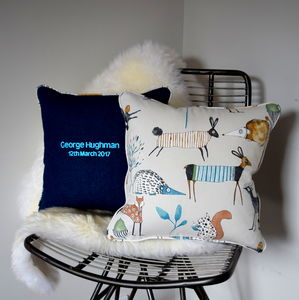 Personalised Children's Woodland Cushion - embroidered & beaded cushions