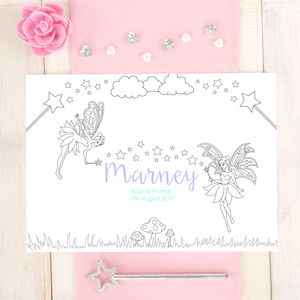 Personalised Fairy Wedding Colouring Placemat - placemats & coasters