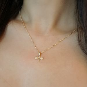Gold Dainty Dragonfly Pendant Necklace - necklaces & pendants