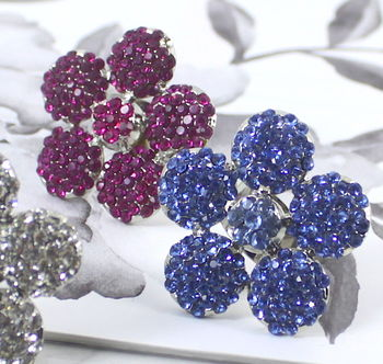 Statement Pave Crystal Flower Ring