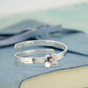 Personalised Baby Bangle With Silver Daisy - children's jewellery