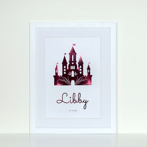 Personalised Foiled Princess Castle Print