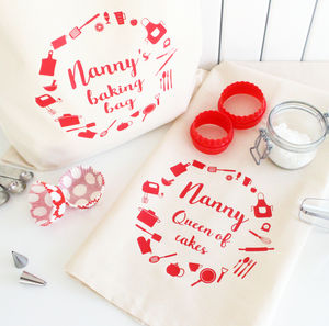 Personalised Baking Bag And Tea Towel Set