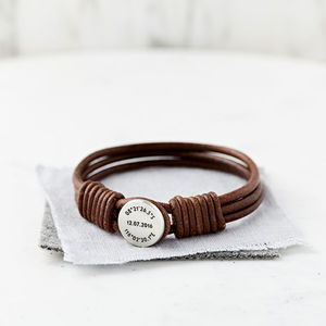 Silver And Leather Coordinate And Date Bracelet - gifts for him