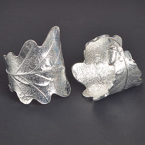 Oak Leaf Napkin Rings Pair, House Warming Gifts - napkin rings