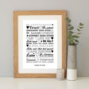 'Rules Of Love' Personalised Typography Print