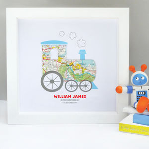 Personalised Baby Boy Map Train Art - mixed media & collage