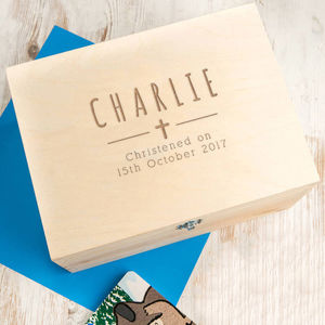 Personalised Baby Boys Christening Keepsake Box - christening gifts