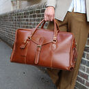 'Oxley' Eco Friendly Leather Weekend Bag In Saddle
