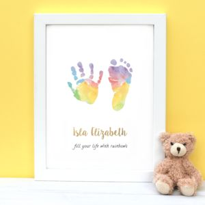 Personalised Child's Handprint Footprint Rainbow Print
