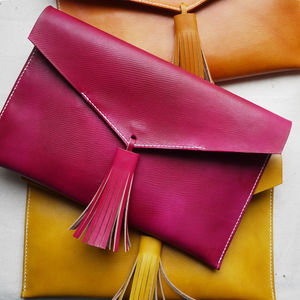 Statement Tassel Leather Clutch