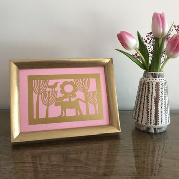 Rose Pink and Metallic Gold Framed Dog Picture