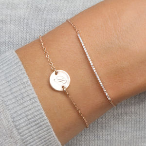 Personalised Initial Disc And Crystal Bar Bracelet Set - gifts for her