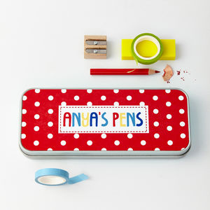 Girls Personalised Pattern Metal Pencil Case Tin