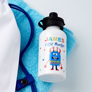 Boys Personalised Little Monster Water Bottle - first day of school gifts