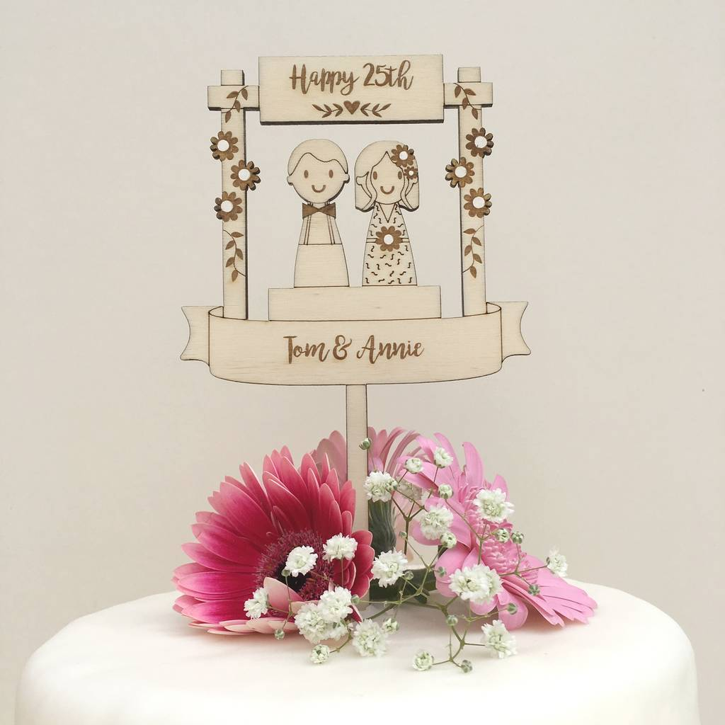 Personalised Wooden Wedding Anniversary Cake Topper By