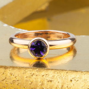 Solid Gold February Birthstone Amethyst Ring - personalised