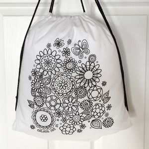 Pe Kit School Pump Bag To Colour In With Flowers