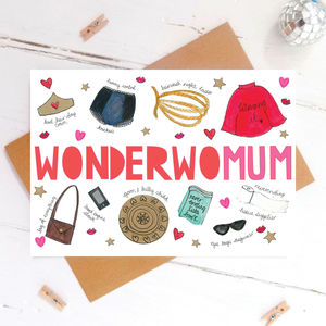 'Wonder Womum' Superhero Funny Mothers Day Card