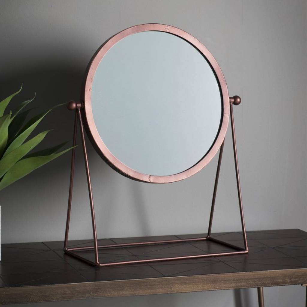 Bronze Round Mirror On A Stand By The Forest Amp Co